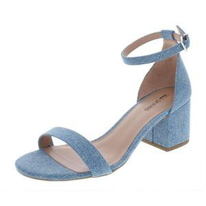 Call It Spring Open Toe Sandals Denim Ankle Strap